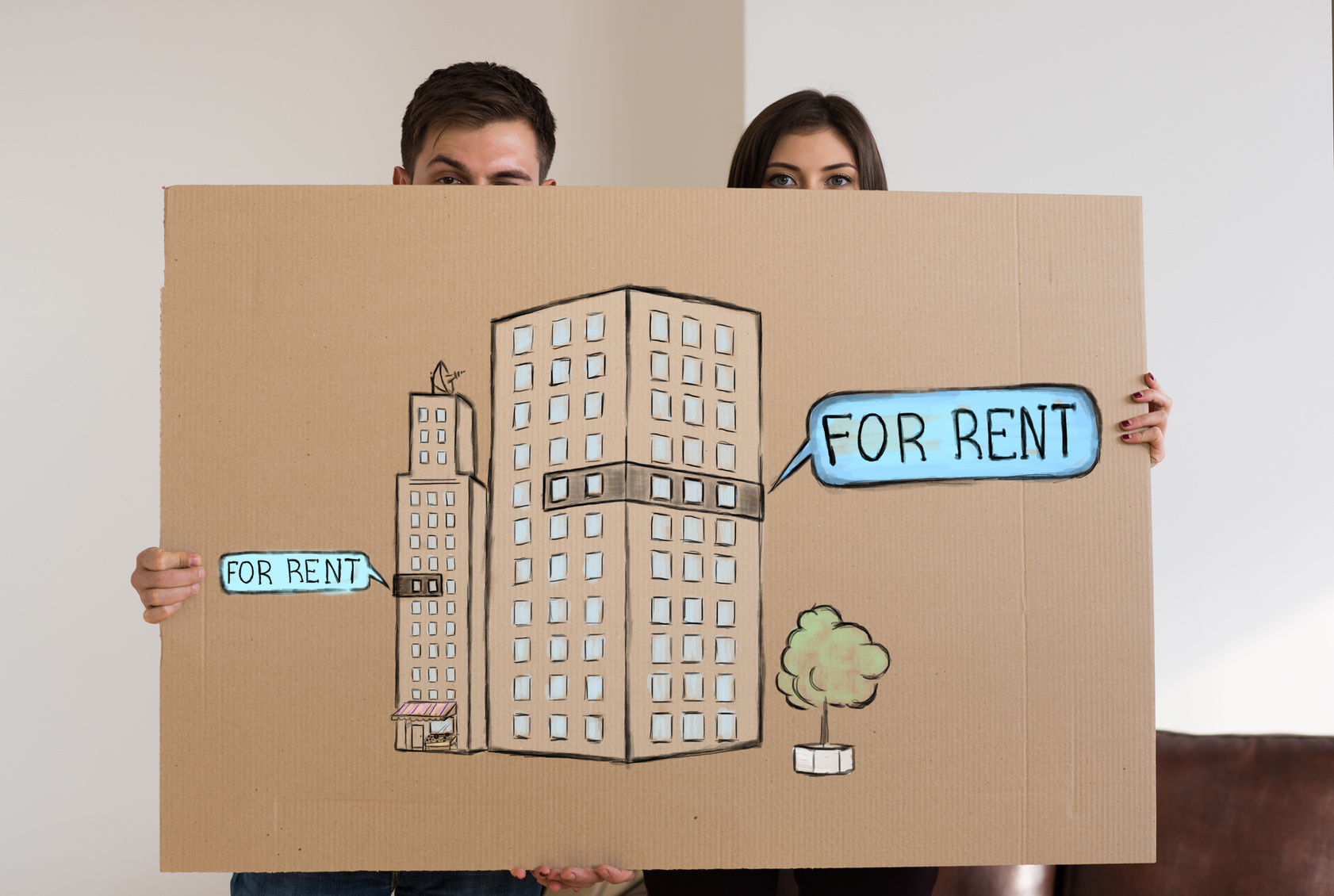 Renting and credit concept. Young couple planning their future